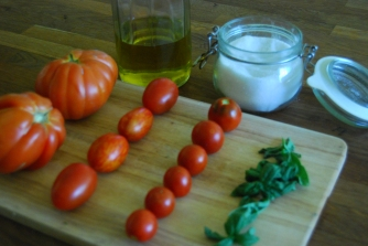 The key is to this dish is to make sure your tomatoes are ripe and your olive oil is extra virgin and that's it.