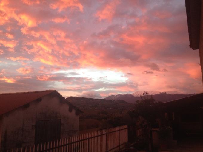 Sunrise hitting the Majella